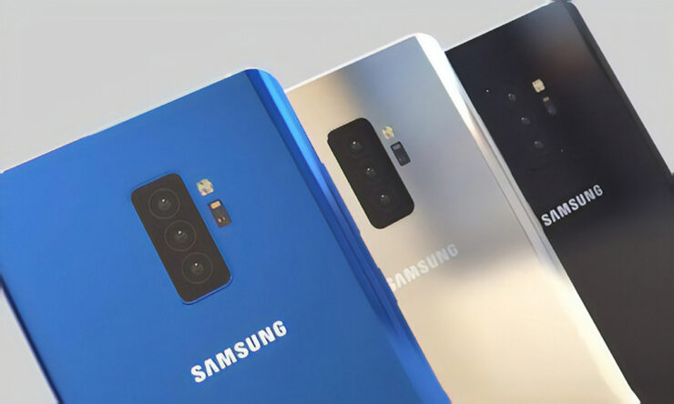 Samsung quadruple camera smartphone all lenses working at once