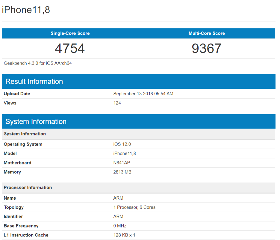 iPhone XR Geekbench benchmark - A12 Bionic Alleged Geekbench Scores Show 2.49GHz CPU Clock Speed – Reveal 4GB RAM on New iPhone Models