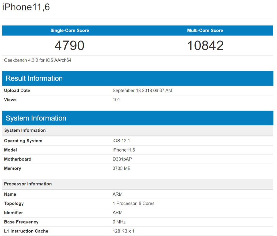 iPhone Xs Geekbench benchmark - A12 Bionic Alleged Geekbench Scores Show 2.49GHz CPU Clock Speed – Reveal 4GB RAM on New iPhone Models