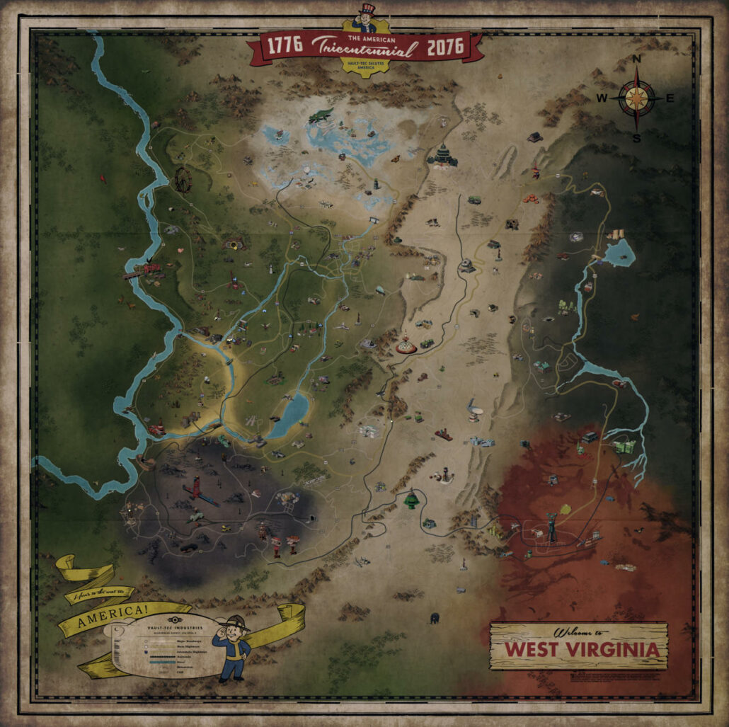 Wallpaper Treasure Who Invented The Automobile: Fallout 76 Full Map Revealed; New Gameplay Footage