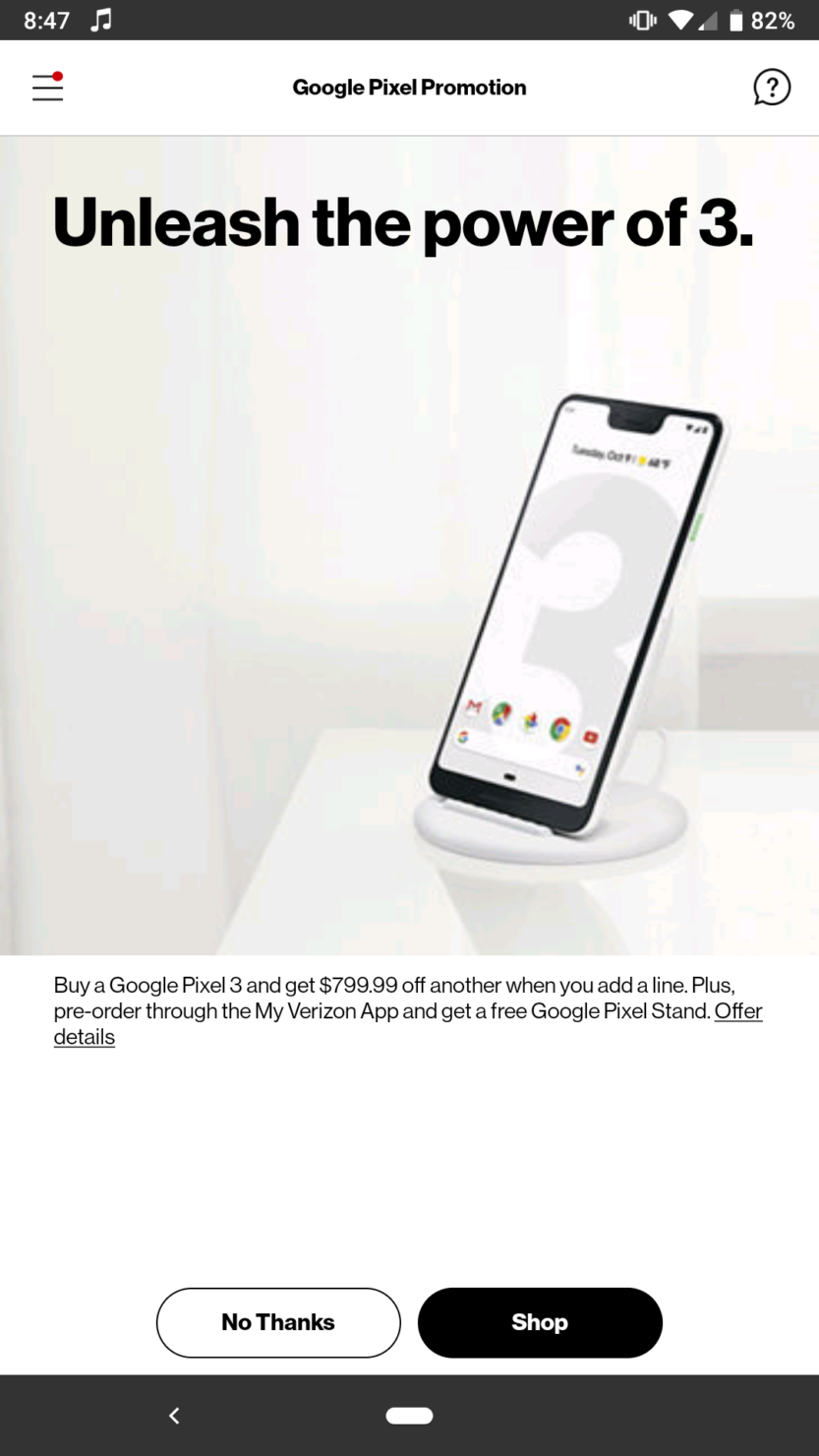Google Pixel 3 Pricing From Verizon