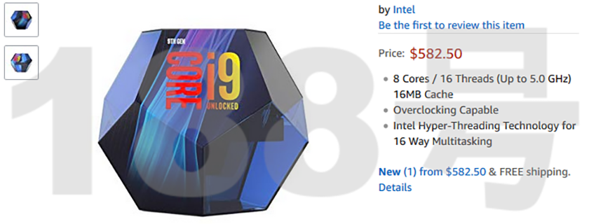 Intel Core i9-9900K Price Listed on Amazon