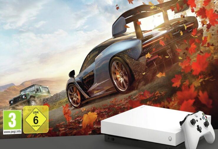 White Xbox One X forza bundle 4