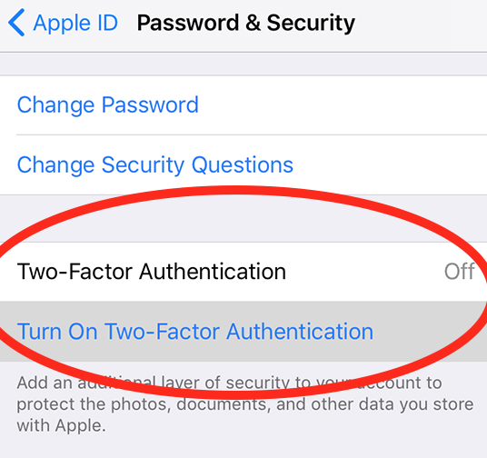 enable two factor authentication on apple id