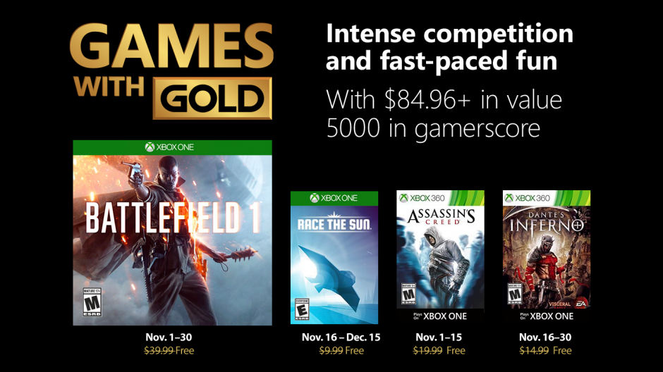 Xbox Gold Games November 2020.Xbox Live Games With Gold Lineup For November 2018 Include