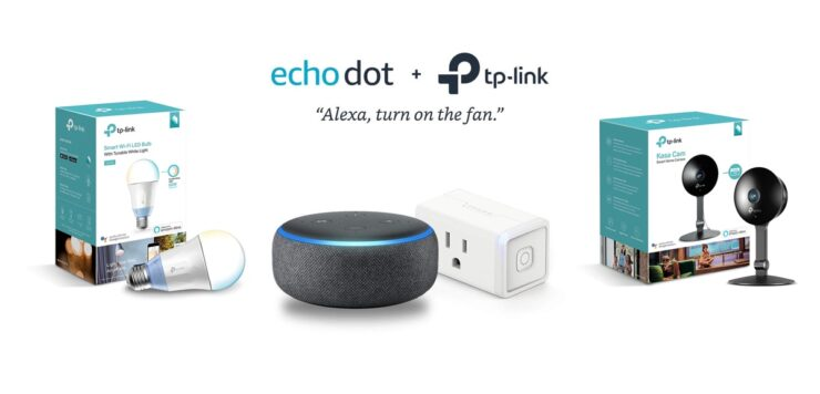Black Echo Spot with TP-Link Smart Light Switch