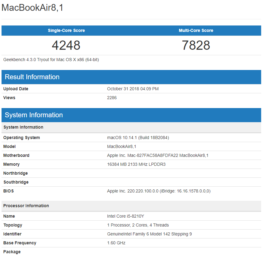 MacBook Air 2018 Performance Results Come Through - Low
