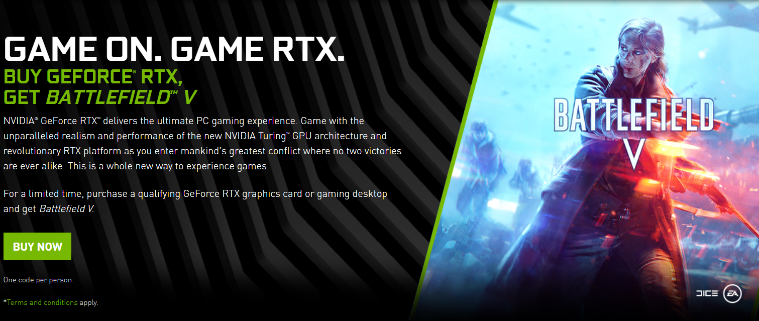NVIDIA Bundles GeForce RTX 20 Series Graphics Cards WIth Battlefield V