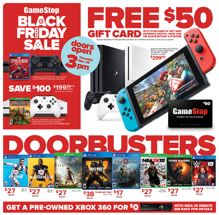 Gamestop Black Friday Xbox One X Bundles Pre Owned Nintendo Switch More On Sale