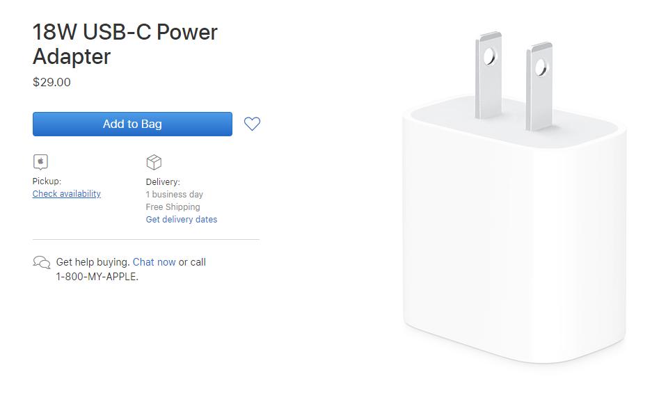 apple has started selling its 18-watt usb-c power adapter
