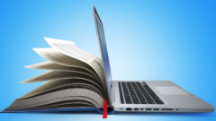 e-learning-concept-of-education-internet-labrary-book-and-laptop-3d