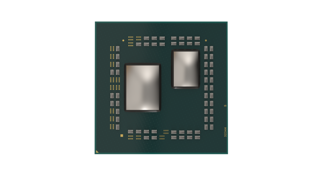 A render of the AMD Ryzen 3000 series processor without the IHS, featuring a single Zen 2 core die.
