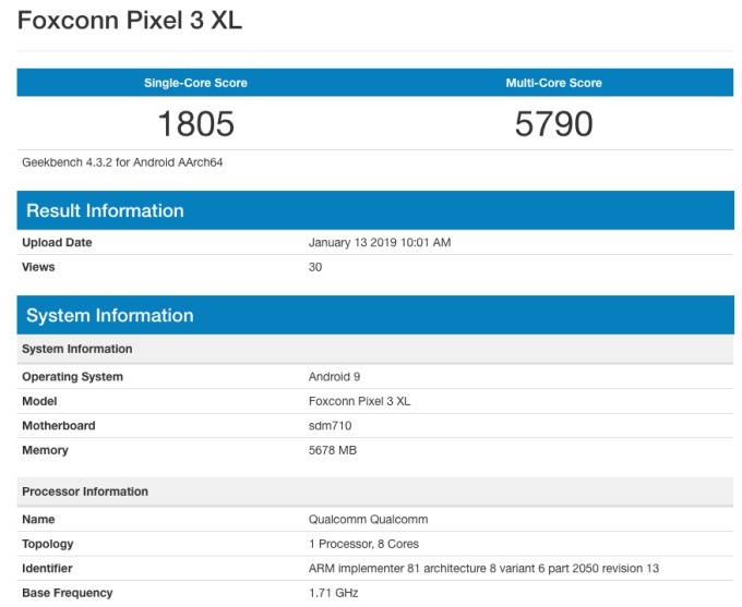 Google Pixel 3 Lite XL Gets Allegedly Spotted at Geekbench, Reveals