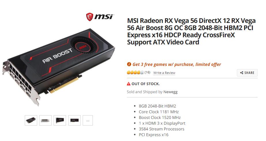 MSI Radeon RX Vega 56 DirectX 12 Air Boost 8G OC 8GB Graphics Card