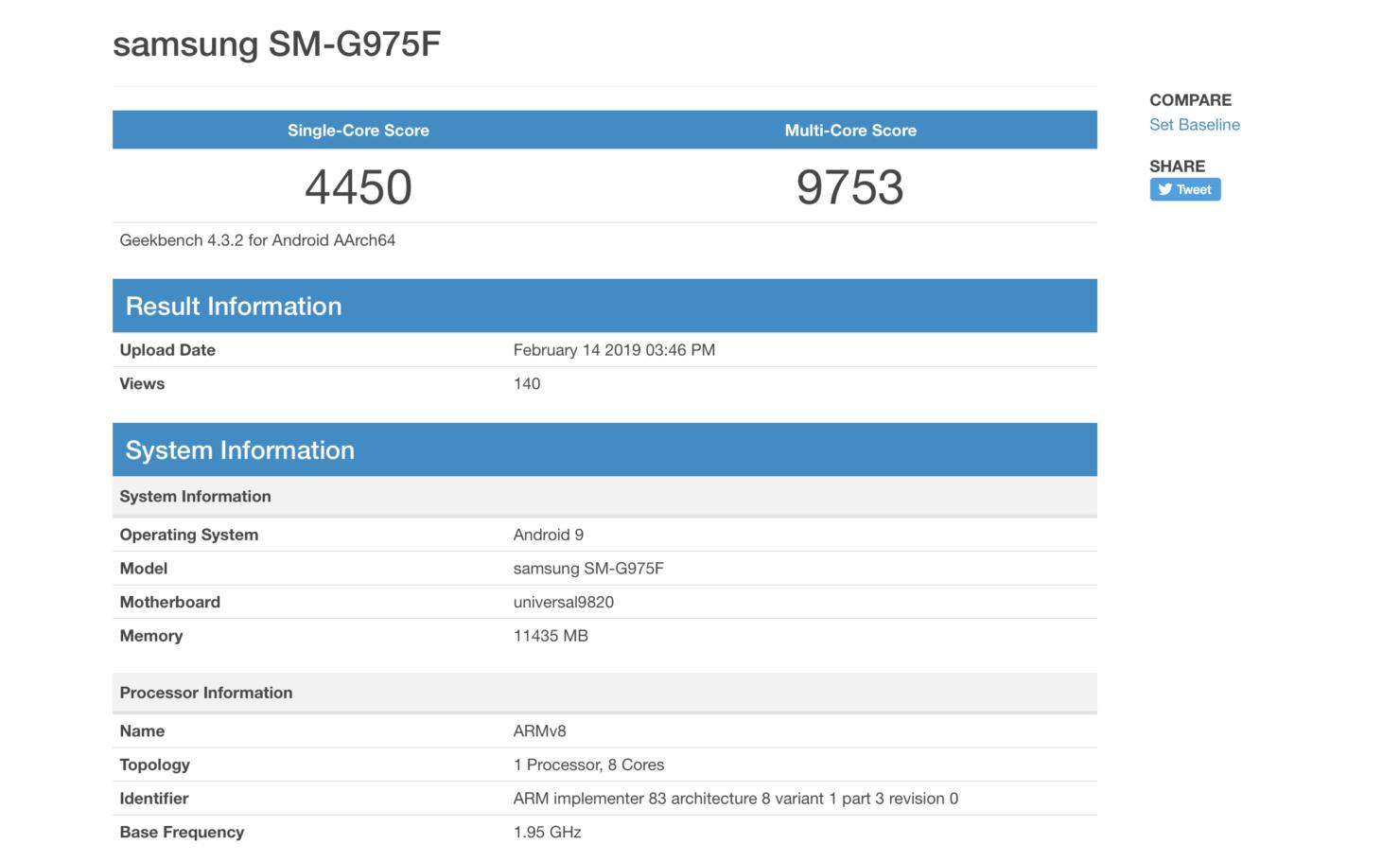 Galaxy S10 Plus GeekBench