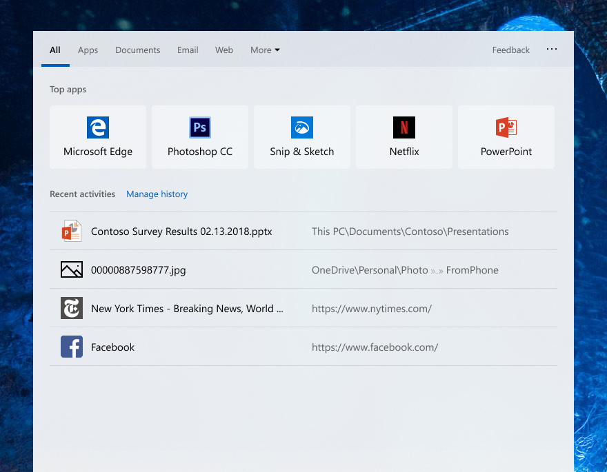 Latest Windows 10 19H1 Build Brings Top Apps to Search