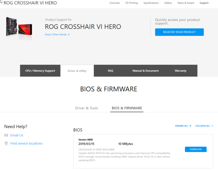 asus-rog-crosshair-vi-hero-amd-ryzen-3000-series-bios-support