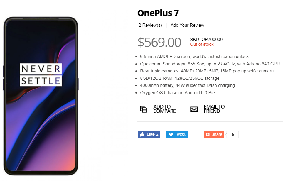 OnePlus 7 listing appears on Giztop with specsheet and an image