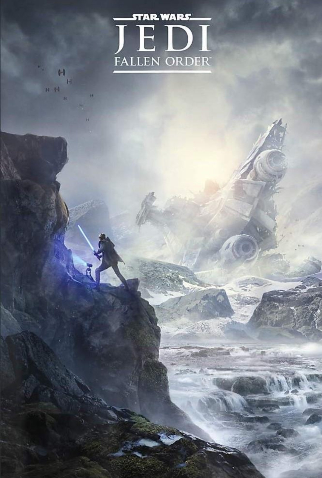 First Star Wars Jedi Fallen Order Poster Surfaces Shows Jedi And Droid At Snow Covered Planet Looking At Crashed Spacecraft