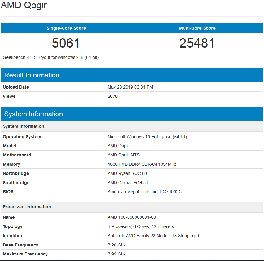 AMD Zen 2 6 Core Benchmark Leaks, Faster Than Ryzen 7 2700X