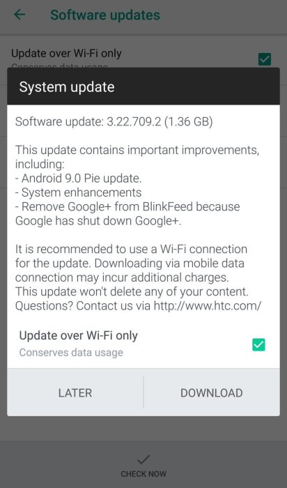 HTC U11 Receiving Android Pie Update in Some Regions