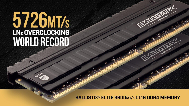 Ballistix Elite Memory Smashes 5726MHz Clocks With Micron E-Die