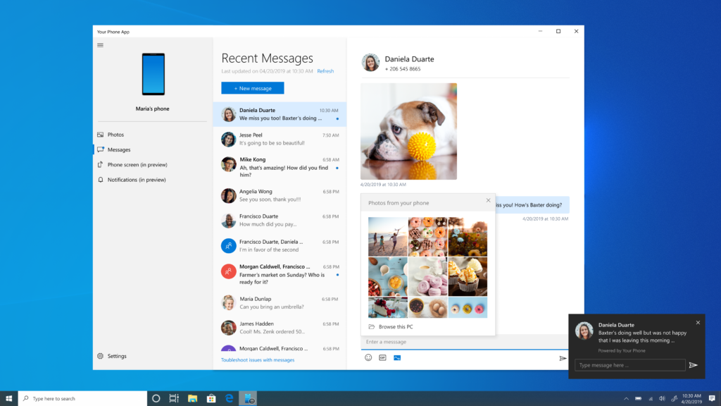 windows 10 New messaging features