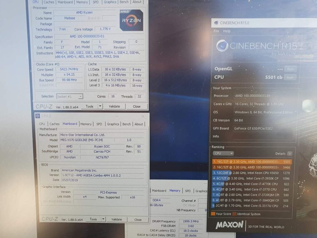 16 Core AMD Ryzen 9 3950X Overclocked to 5.4GHz, Breaks Records Again