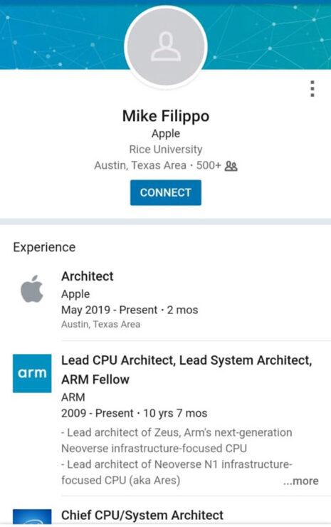 Apple hires lead ARM CPU architect