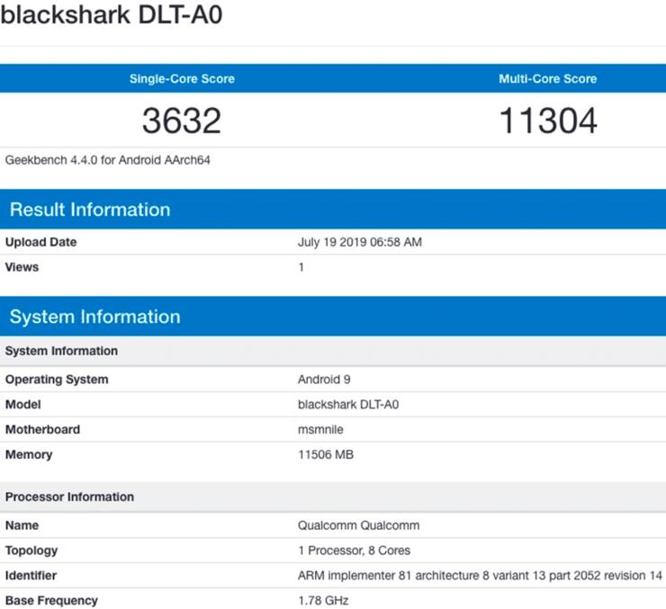 Xiaomi Black Shark 2 Pro geekbench leak shows impressive scores