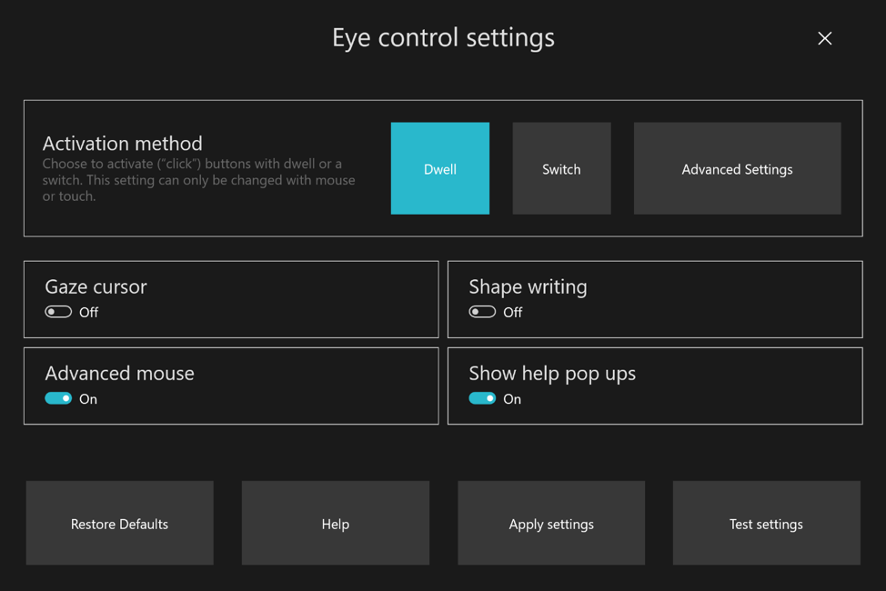 windows 10 2020 eye control