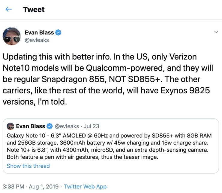 Leakster claims Exynos 9825 will be a part of the U.S. Galaxy Note 10 models