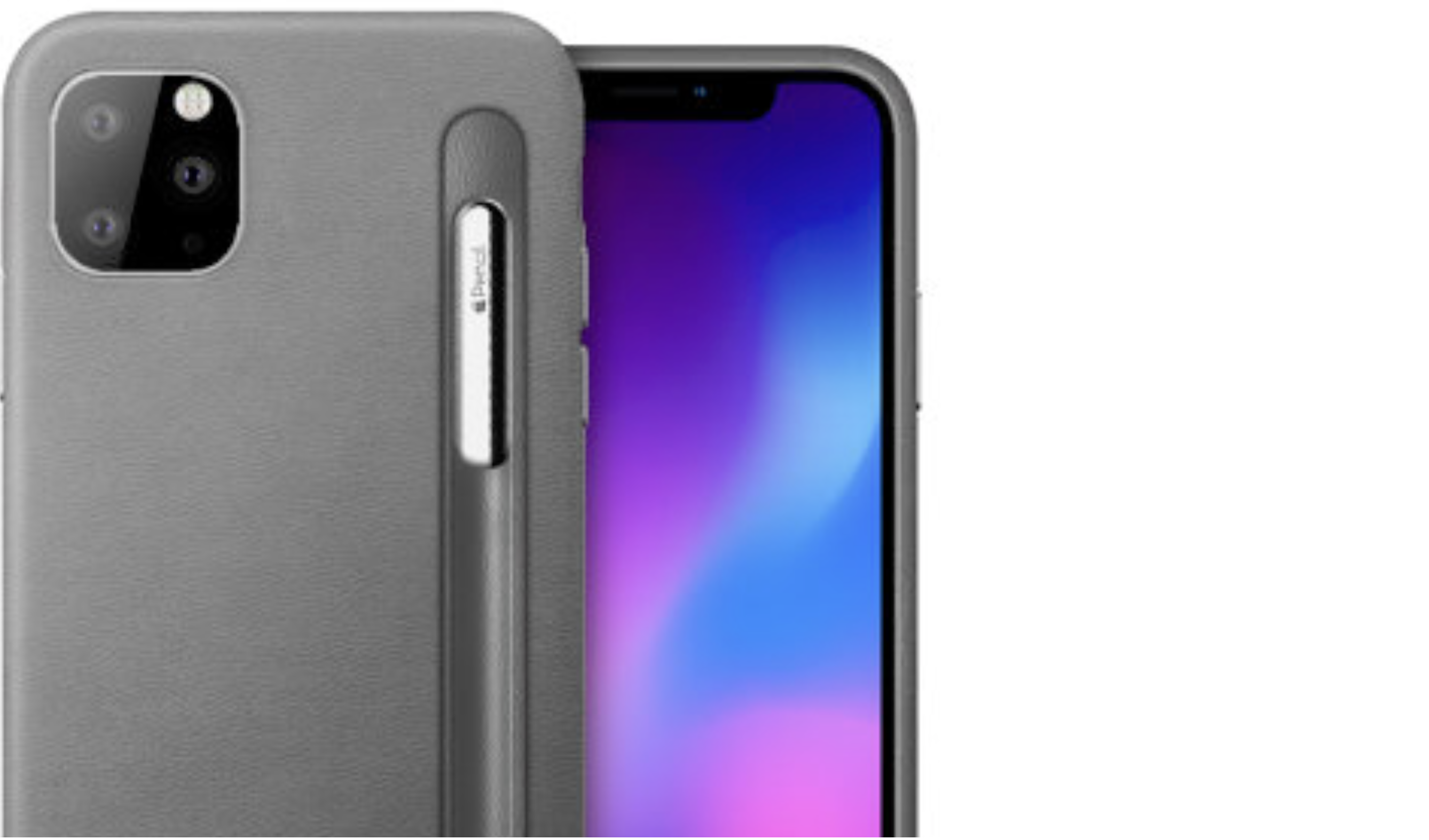 Alleged iPhone 11 cases showing Apple Pencil.