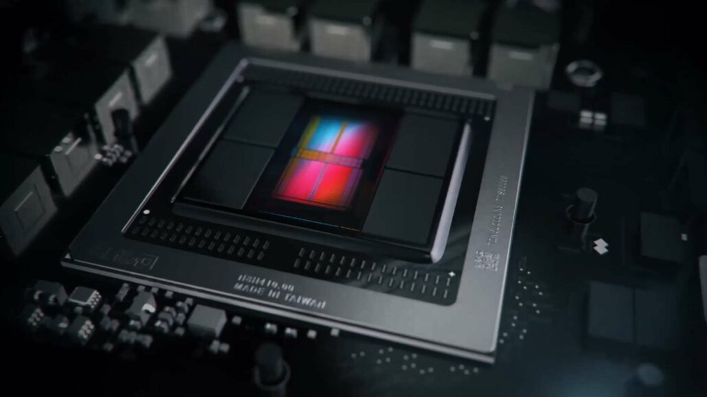 A render of AMD's Vega 20 GPU featured in the last halo graphics card, the Radeon VII.