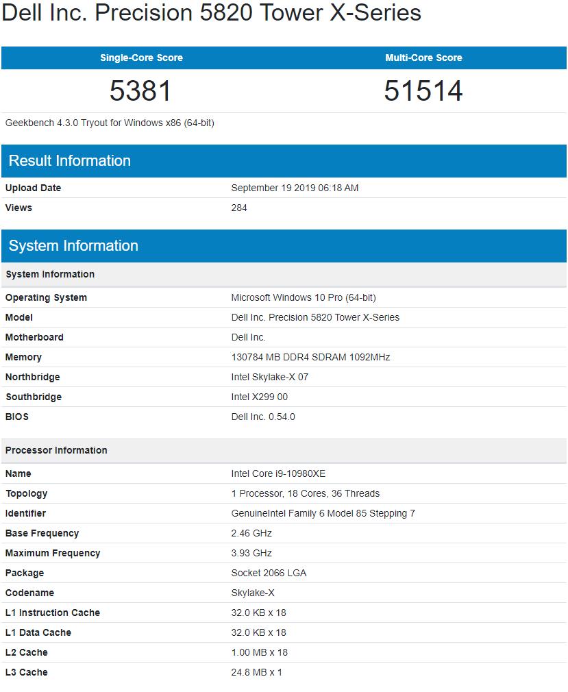 Intel Core I9 10980xe 18 Core Cascade Lake X Cpu Benchmarks Leak