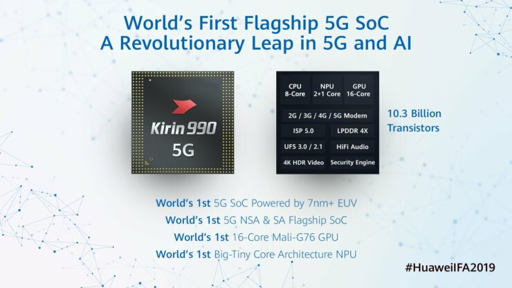 Huawei Kirin 990 is Huawei's first 7nm+ EUV SoC and features an integrated 5G modem