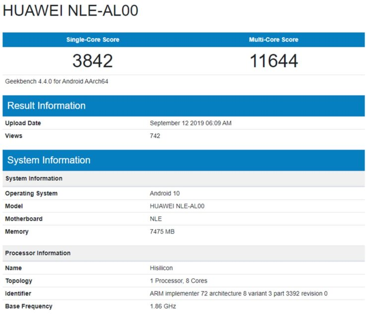 Kirin 990 Performance Lags Behind A13 Bionic in Leaked Benchmark