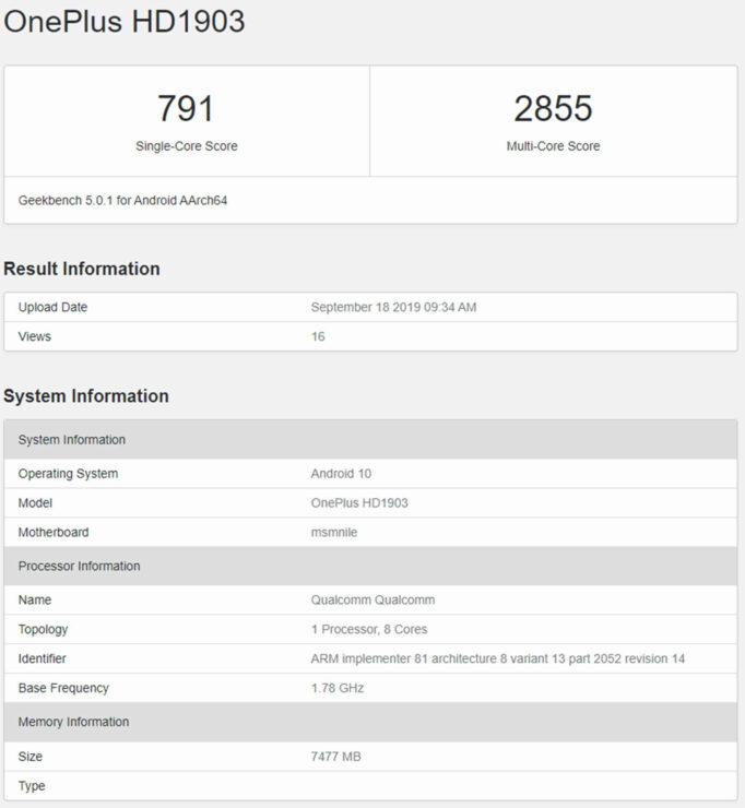 OnePlus 7T Benchmark Leak Obtains a Higher Score Than OnePlus 7 Pro