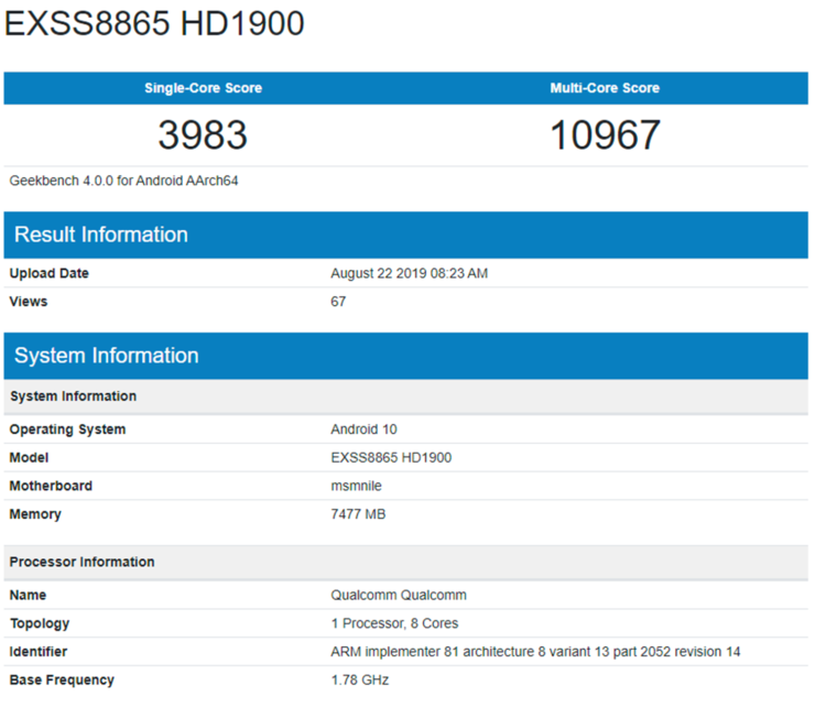 OnePlus 7T benchmark spotted online