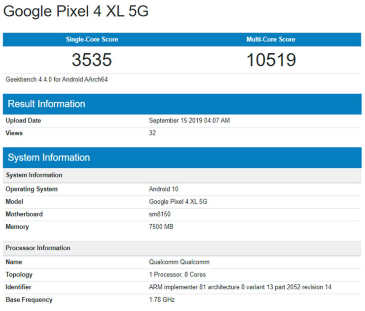 Pixel 4 XL 5G Benchmark Allegedly Shows a Higher RAM Count
