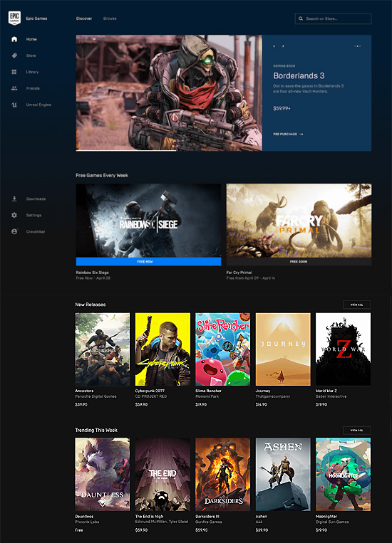 Epic Games Store interefejs