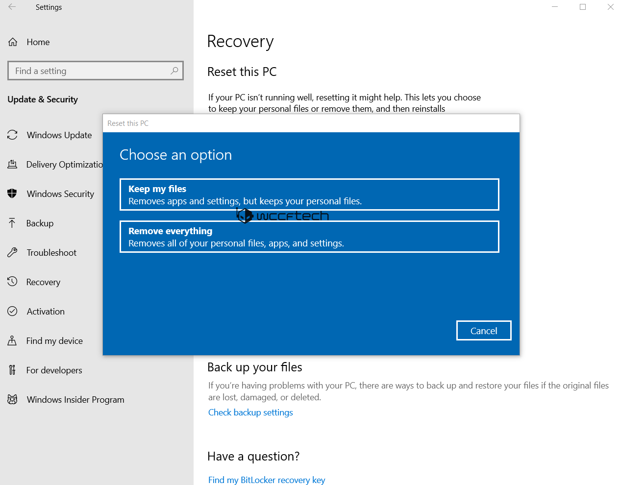 how to reset windows 10 cloud download
