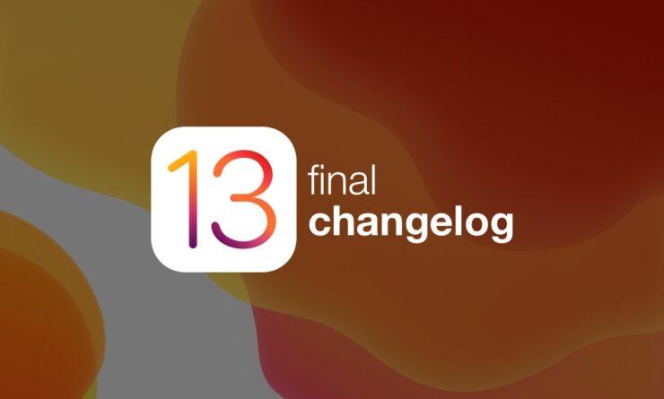 iOS 13 final changelog