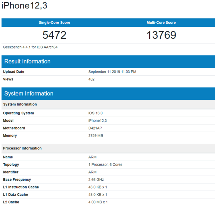 Alleged iPhone 11 Pro benchmark shows same RAM as iPhone 11 but increased multi-core scores