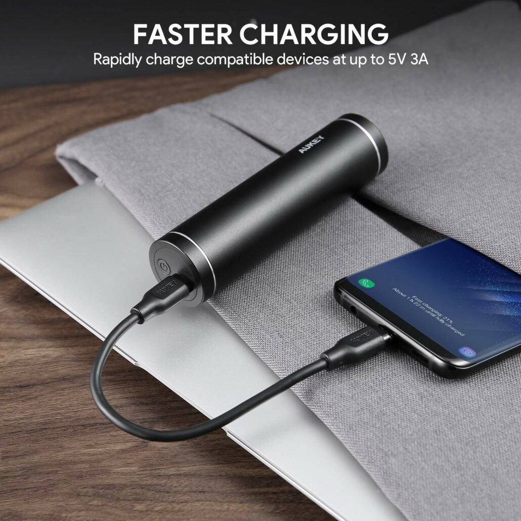 AUKEY USB-C power bank with 5V/3A charging