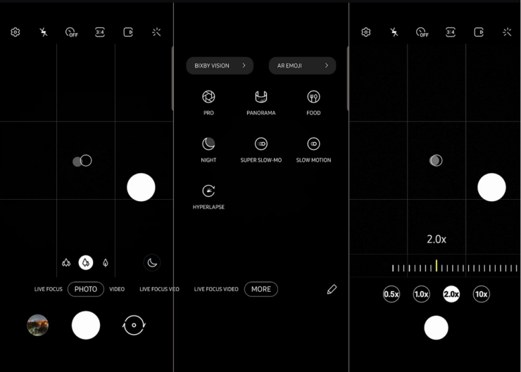 Android 10 Gamsung OneUI 2.0 Camera app
