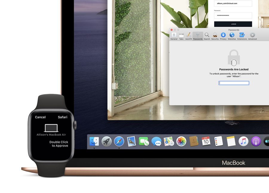 Approve with Apple Watch feature demo in Safari Passwords