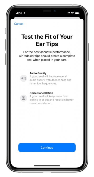 Ear Tip Fit Test AirPods Pro