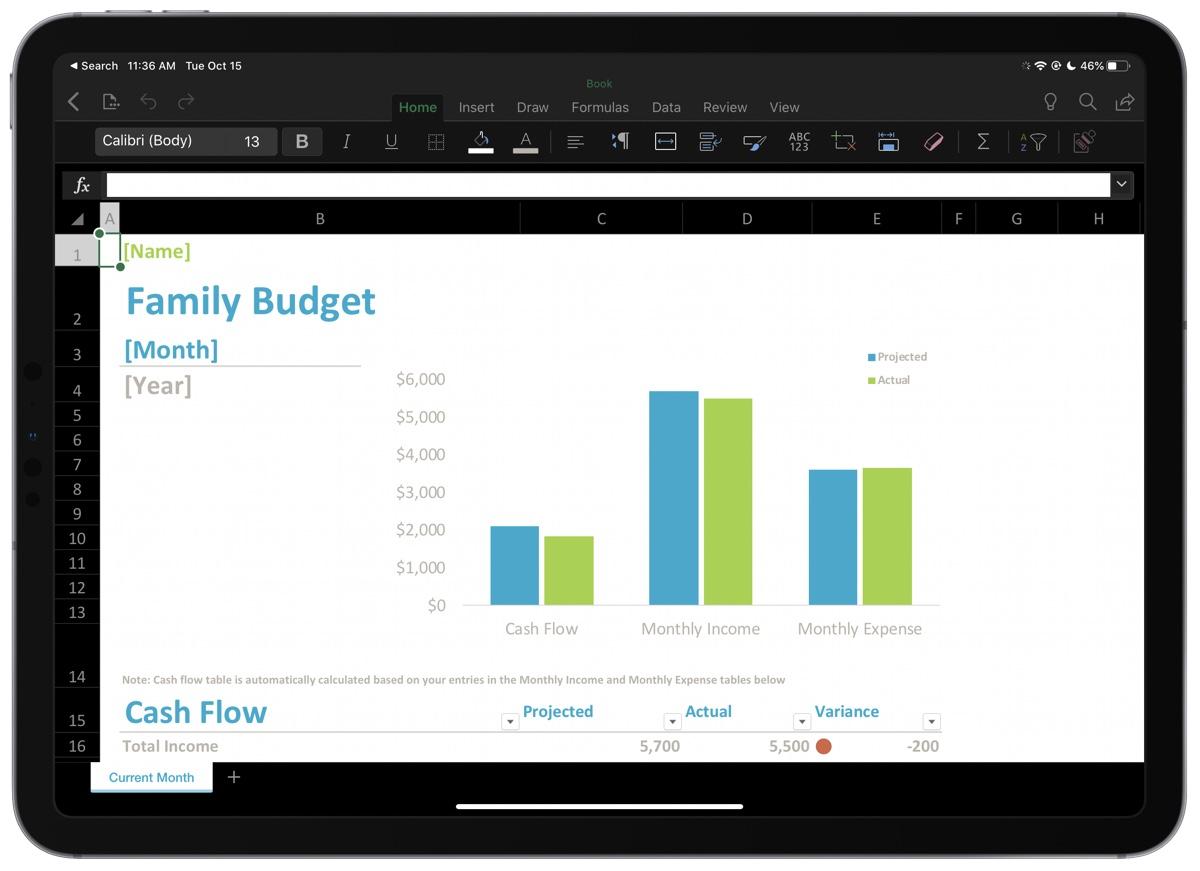 Excel for iPad Dark Mode