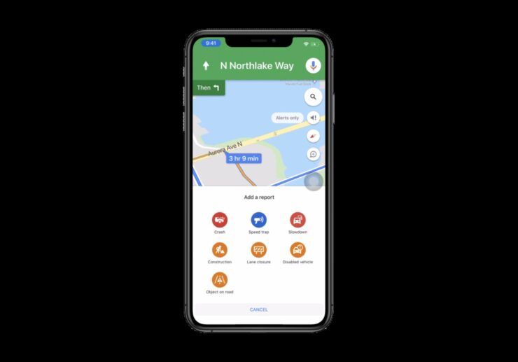 Google Maps for iPhone incident report